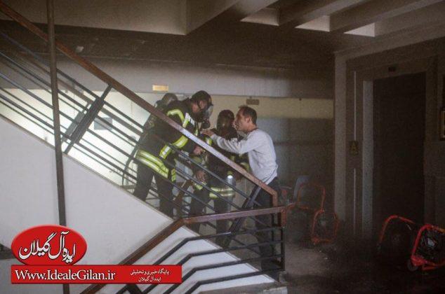 گزارش تصویری مهار آتش در ساختمان مرکزی شهرداری رشت+توضیحات رئیس سازمان آتش نشانی