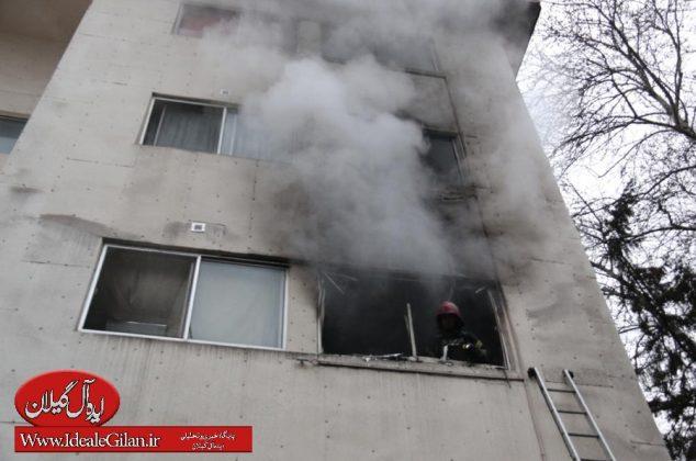 گزارش تصویری/مهار آتش سوزی در طبقه دوم آپارتمان مسکونی ،گلسار رشت