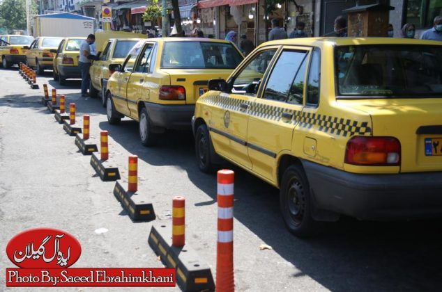 گزارش تصویری/نصب لاین های جدا کننده ایستگاه های تاکسی شهر رشت