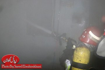 گزارش تصویری/اطفا و مهار دو حریق همزمان در استخر پل عراق و فلکه گاز توسط آتش نشانی رشت